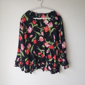 Jenny Helene Floral Ruffled Blouse Button Down